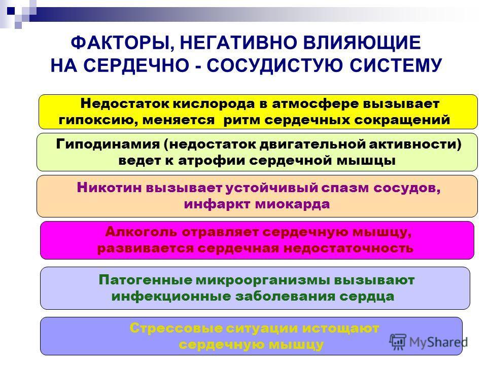 ФАКТОРЫ, НЕГАТИВНО ВЛИЯЮЩИЕ НА СЕРДЕЧНО - СОСУДИСТУЮ СИСТЕМУ Недостаток кислорода в атмосфере вызывает гипоксию, меняется ритм сердечных сокращений Гиподинамия (недостаток двигательной активности) ведет к атрофии сердечной мышцы Никотин вызывает усто