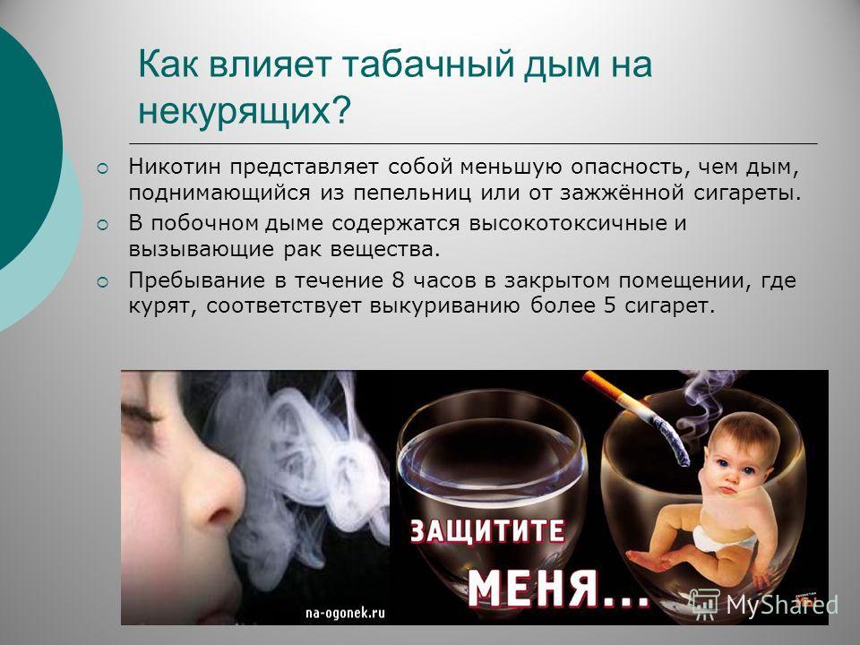 Как влияет табачный дым на некурящих? Никотин представляет собой меньшую опасность, чем дым, поднимающийся из пепельниц или от зажжённой сигареты. В побочном дыме содержатся высокотоксичные и вызывающие рак вещества. Пребывание в течение 8 часов в за
