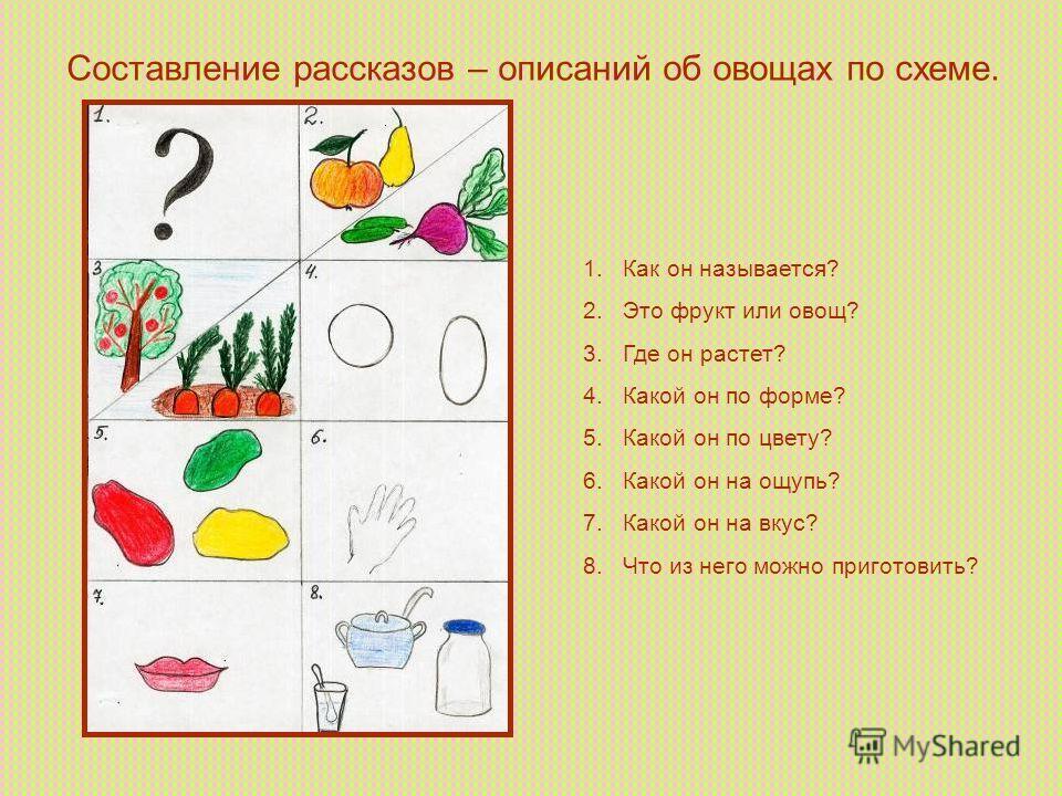 Составление рассказов – описаний об овощах по схеме. 1. Как он называется? 2. Это фрукт или овощ? 3. Где он растет? 4. Какой он по форме? 5. Какой он по цвету? 6. Какой он на ощупь? 7. Какой он на вкус? 8. Что из него можно приготовить?