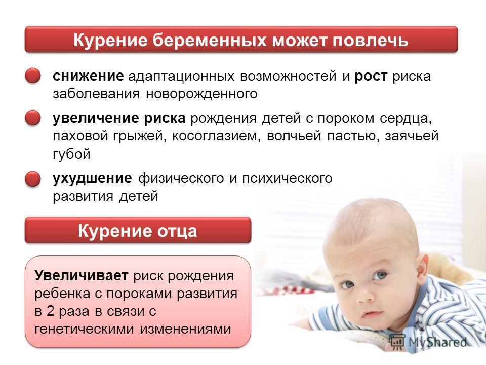 Курение беременных может повлечь снижение адаптационных возможностей и рост риска заболевания новорожденного увеличение риска рождения детей с пороком сердца, паховой грыжей, косоглазием, волчьей пастью, заячьей губой ухудшение физического и психичес