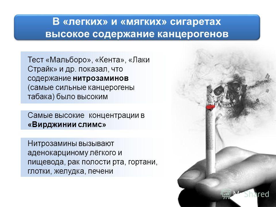 Тест «Мальборо», «Кента», «Лаки Страйк» и др. показал, что содержание нитрозаминов (самые сильные канцерогены табака) было высоким Самые высокие концентрации в «Вирджинии слимс» Нитрозамины вызывают аденокарциному лёгкого и пищевода, рак полости рта,
