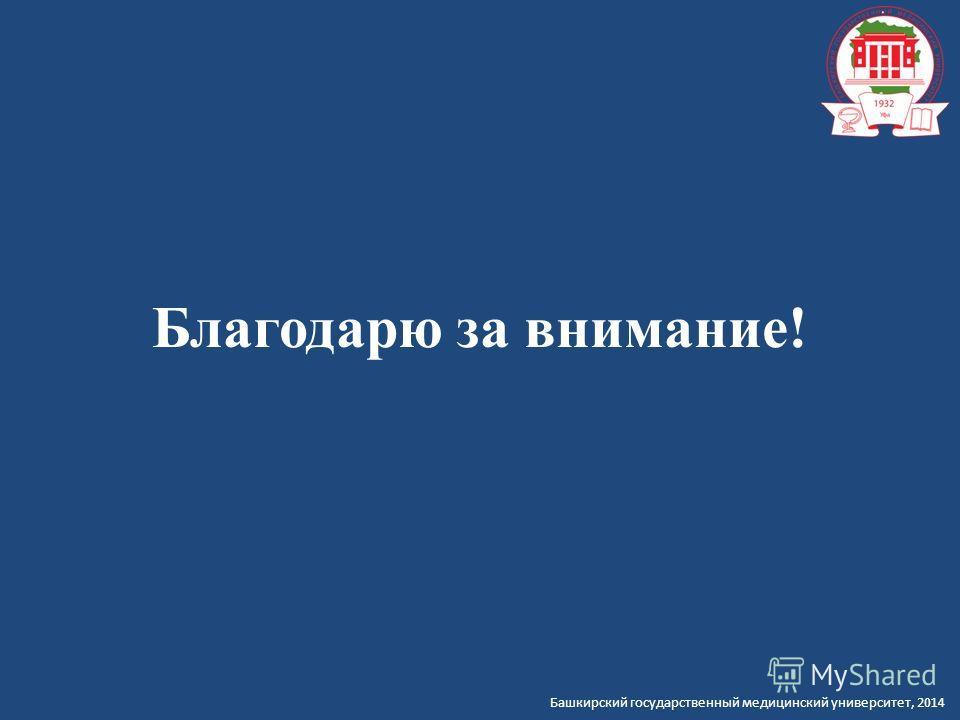 Башкирский государственный медицинский университет, 2014 Благодарю за внимание!