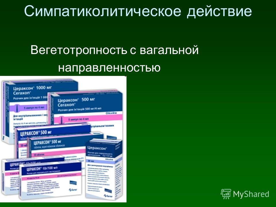 Симпатиколитическое действие Вегетотропность с вагальной направленностью