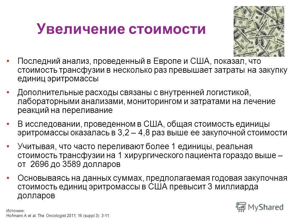 Увеличение стоимости Последний анализ, проведенный в Европе и США, показал, что стоимость трансфузии в несколько раз превышает затраты на закупку единиц эритромассы Дополнительные расходы связаны с внутренней логистикой, лабораторными анализами, мони