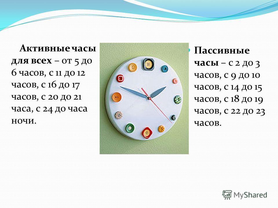 Активные часы для всех – от 5 до 6 часов, с 11 до 12 часов, с 16 до 17 часов, с 20 до 21 часа, с 24 до часа ночи. Пассивные часы – с 2 до 3 часов, с 9 до 10 часов, с 14 до 15 часов, с 18 до 19 часов, с 22 до 23 часов.
