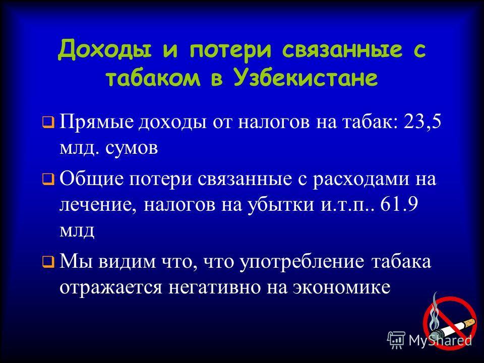 Доходы и потери связанные с табаком в Узбекистане Прямые доходы от налогов на табак: 23,5 млд. сумов Общие потери связанные с расходами на лечение, налогов на убытки и.т.п.. 61.9 млд Мы видим что, что употребление табака отражается негативно на эконо