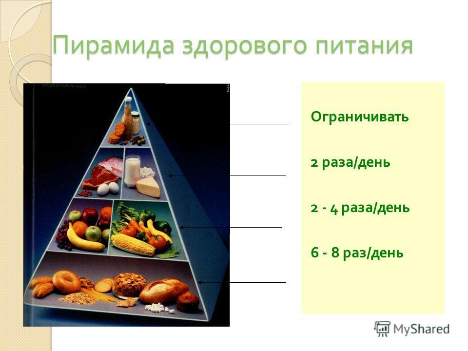 Пирамида здорового питания Ограничивать 2 раза / день 2 - 4 раза / день 6 - 8 раз / день