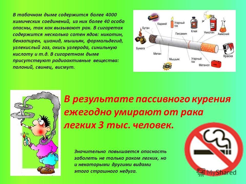 В табачном дыме содержится более 4000 химических соединений, из них более 40 особо опасны, так как вызывают рак. В сигаретах содержится несколько сотен ядов: никотин, бензапирен, цианид, мышьяк, формальдегид, углекислый газ, окись углерода, синильную
