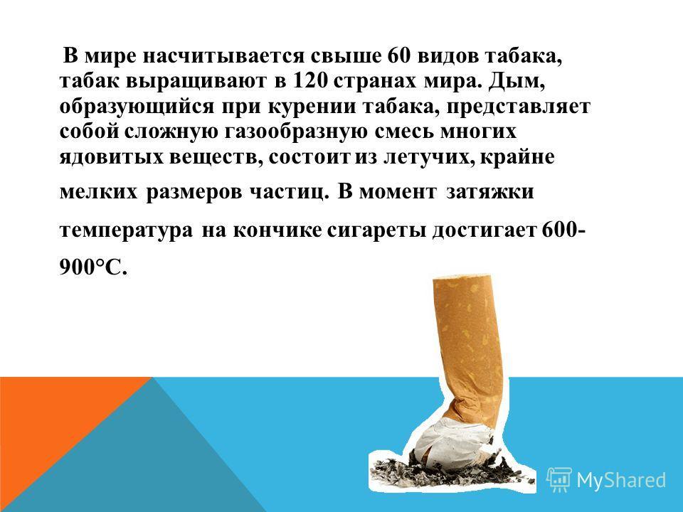 В мире насчитывается свыше 60 видов табака, табак выращивают в 120 странах мира. Дым, образующийся при курении табака, представляет собой сложную газообразную смесь многих ядовитых веществ, состоит из летучих, крайне мелких размеров частиц. В момент