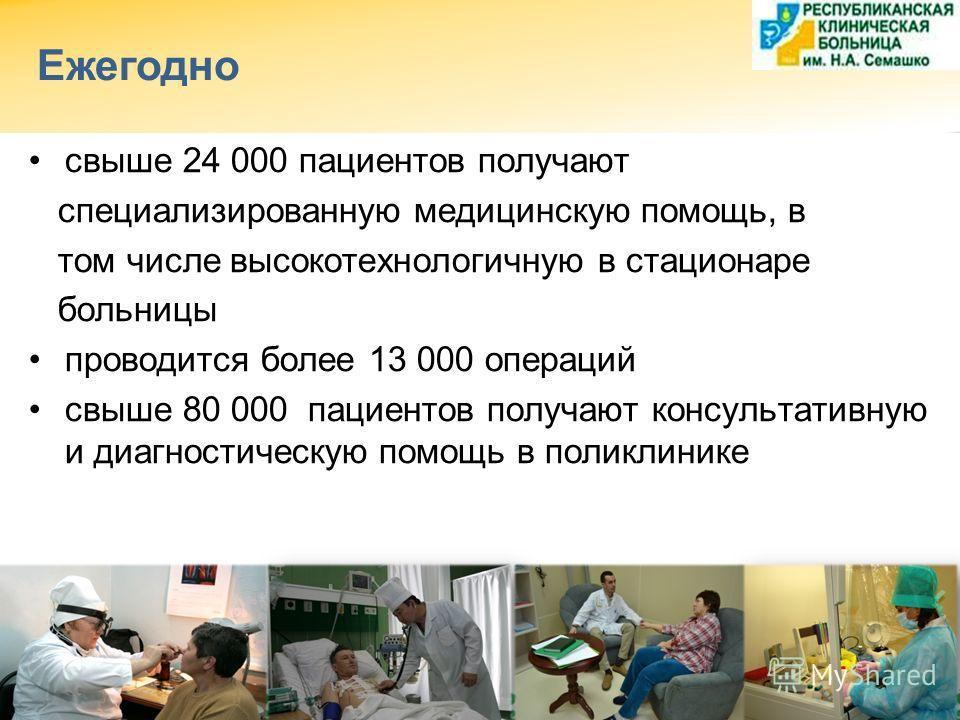 Ежегодно свыше 24 000 пациентов получают специализированную медицинскую помощь, в том числе высокотехнологичную в стационаре больницы проводится более 13 000 операций свыше 80 000 пациентов получают консультативную и диагностическую помощь в поликлин