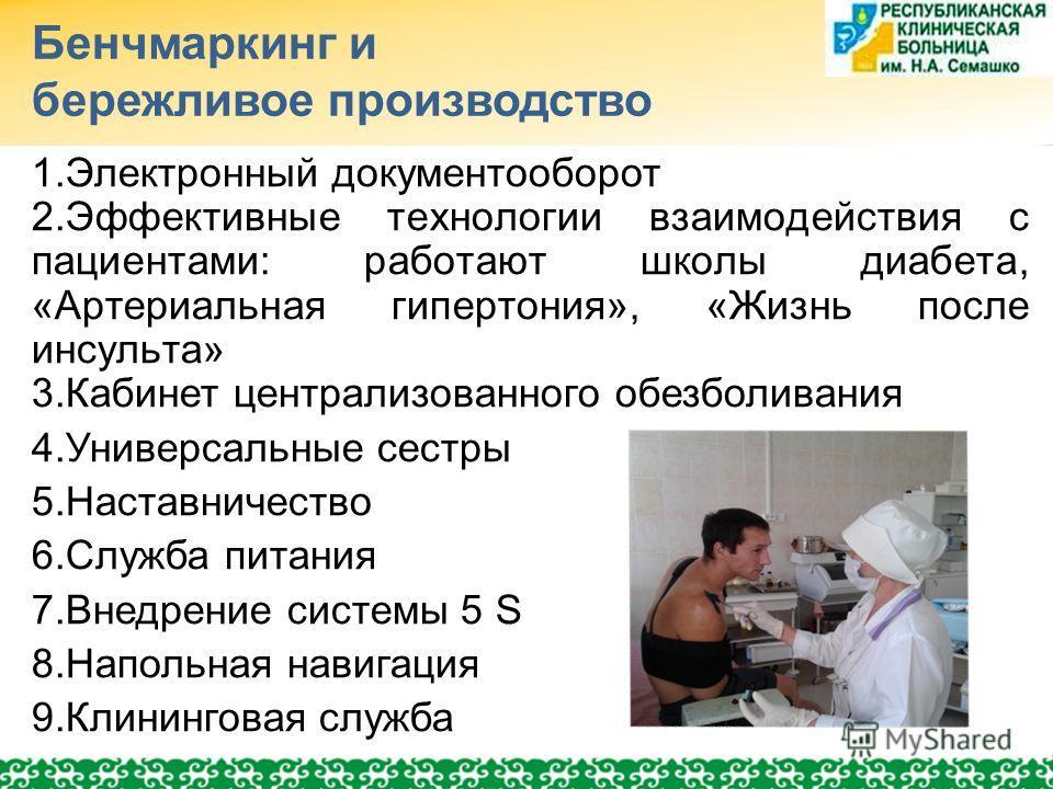 Бенчмаркинг и бережливое производство 1. Электронный документооборот 2. Эффективные технологии взаимодействия с пациентами: работают школы диабета, «Артериальная гипертония», «Жизнь после инсульта» 3. Кабинет централизованного обезболивания 4. Универ