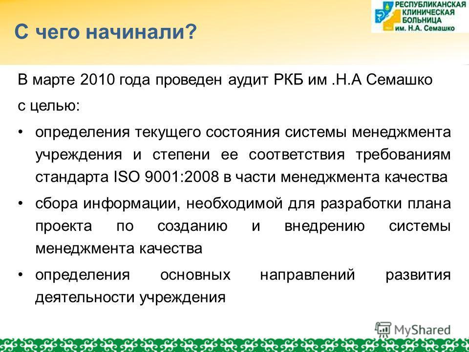 С чего начинали? В марте 2010 года проведен аудит РКБ им.Н.А Семашко с целью: определения текущего состояния системы менеджмента учреждения и степени ее соответствия требованиям стандарта ISO 9001:2008 в части менеджмента качества сбора информации, н