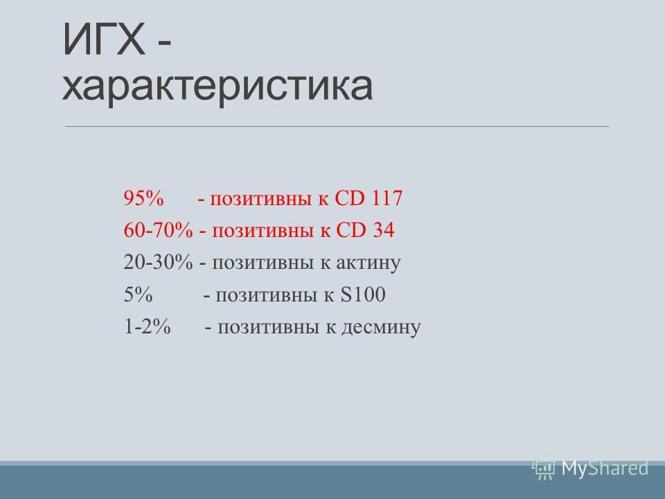 ИГХ - характеристика 95% - позитивны к CD 117 60-70% - позитивны к CD 34 20-30% - позитивны к актину 5% - позитивны к S100 1-2% - позитивны к десмину
