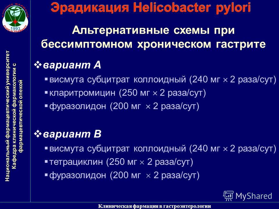 Лечение гастрита с хеликобактер пилори схема лечения