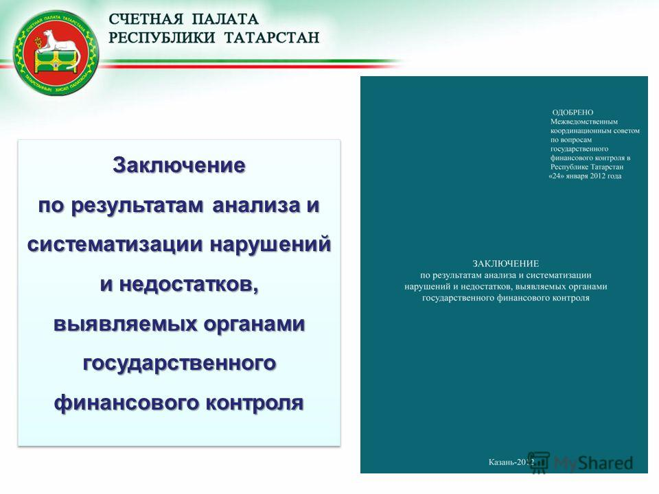 Заключение по результатам анализа и систематизации нарушений и недостатков, выявляемых органами государственного финансового контроля Заключение