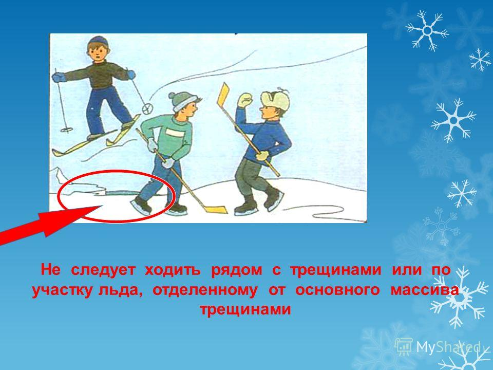 Не следует ходить рядом с трещинами или по участку льда, отделенному от основного массива трещинами