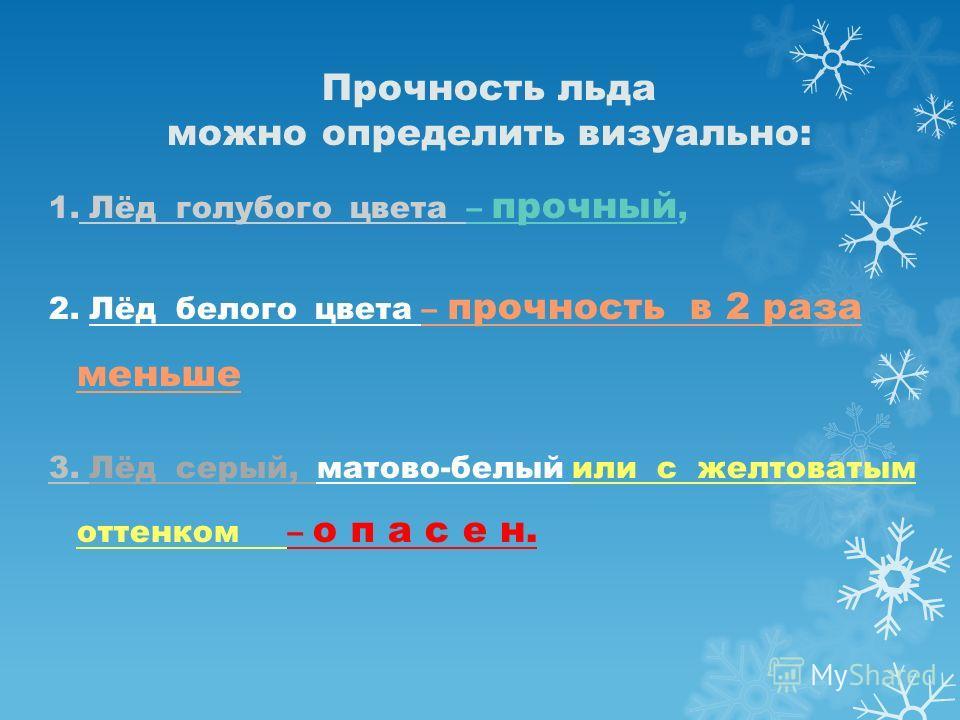 Прочность льда можно определить визуально: 1. Лёд голубого цвета – прочный, 2. Лёд белого цвета – прочность в 2 раза меньше 3. Лёд серый, матово-белый или с желтоватым оттенком – о п а с е н.