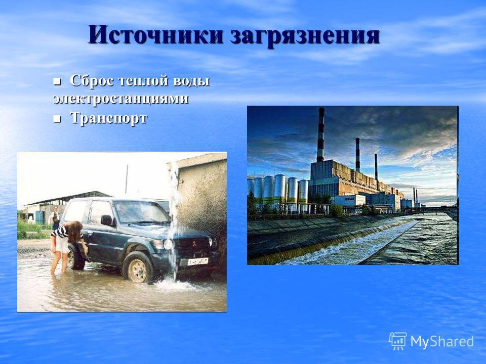 Источники загрязнения Сброс теплой воды электростанциями Сброс теплой воды электростанциями Транспорт Транспорт