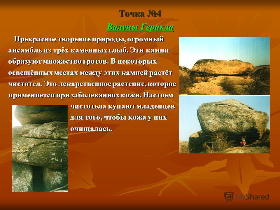 Точка 4 Валуны Геракла Прекрасное творение природы, огромный Прекрасное творение природы, огромный ансамбль из трёх каменных глыб. Эти камни образуют множество гротов. В некоторых освещённых местах между этих камней растёт чистотел. Это лекарственное