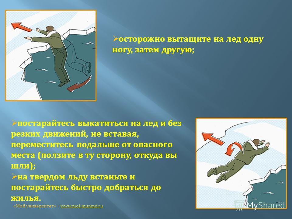 осторожно вытащите на лед одну ногу, затем другую; постарайтесь выкатиться на лед и без резких движений, не вставая, переместитесь подальше от опасного места (ползите в ту сторону, откуда вы шли); на твердом льду встаньте и постарайтесь быстро добрат