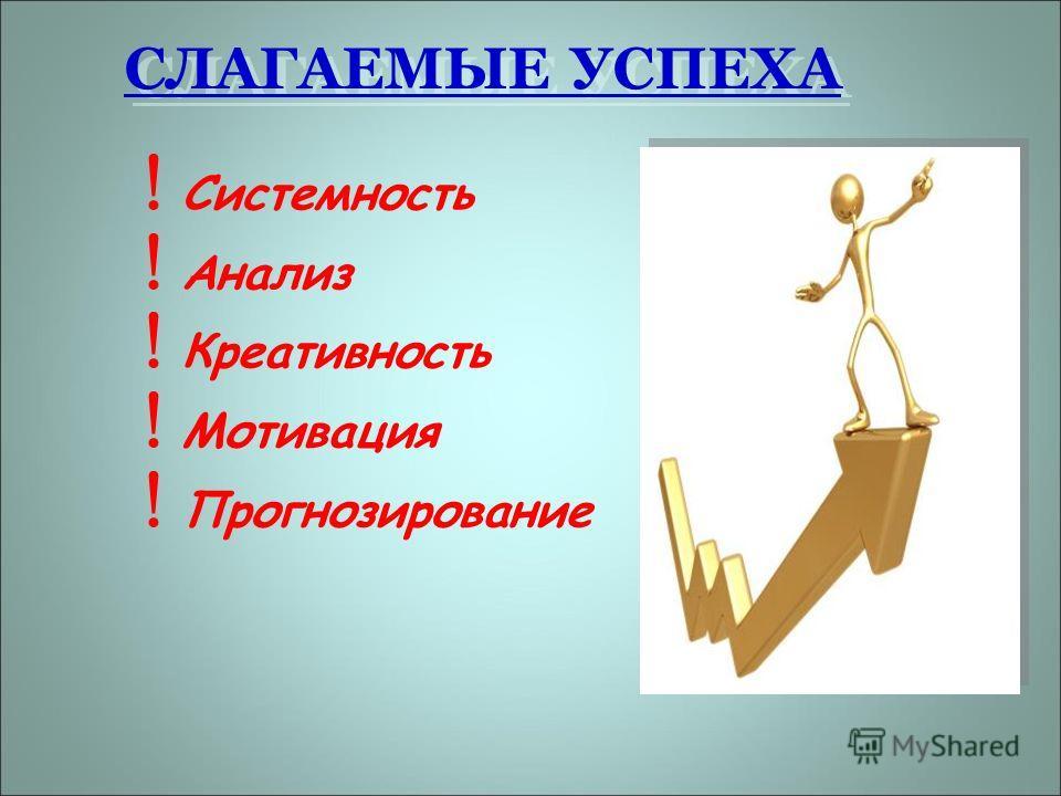 СЛАГАЕМЫЕ УСПЕХА ! Системность ! Анализ ! Креативность ! Мотивация ! Прогнозирование