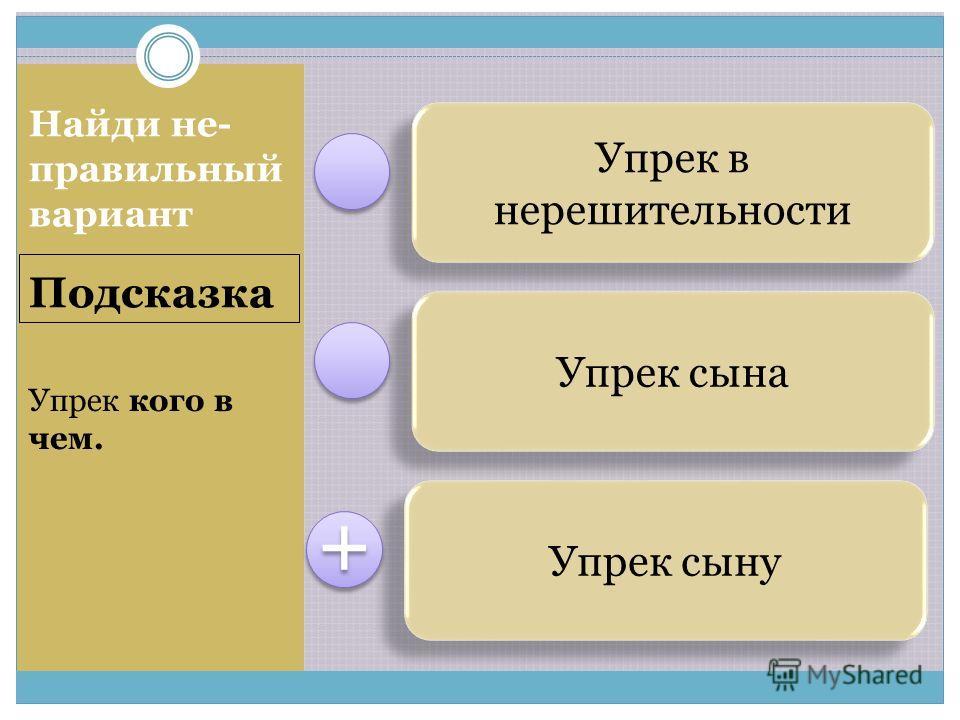 Упрек в нерешительности Упрек сына Упрек сыну + + Подсказка Найди не- правильный вариант Упрек кого в чем.