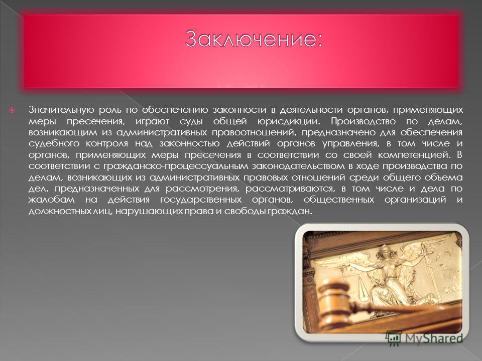Значительную роль по обеспечению законности в деятельности органов, применяющих меры пресечения, играют суды общей юрисдикции. Производство по делам, возникающим из административных правоотношений, предназначено для обеспечения судебного контроля над