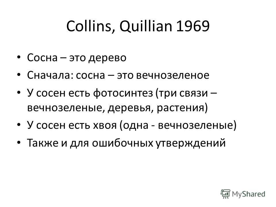 Collins, Quillian 1969 Сосна – это дерево Сначала: сосна – это вечнозеленое У сосен есть фотосинтез (три связи – вечнозеленые, деревья, растения) У сосен есть хвоя (одна - вечнозеленые) Также и для ошибочных утверждений