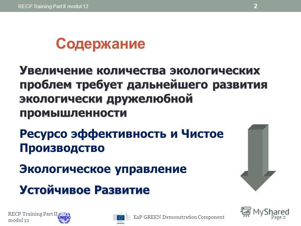 UNIDO RECP TRAINING PROGRAMME: PART II модуль 12 Системы управления, от REСР до СЭМ 02-03 сентября 2014 г. 08-09 сентября 2014 г. RECP Training Part II modul 12 1