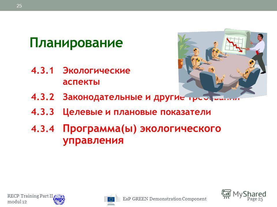 RECP Training Part II modul 12 Page 24EaP GREEN Demonstration Component 24 должна: соответствовать характеру, масштабу и экологическим воздействиям организации Быть внедрена и регулярно пересматриваться с целью ее актуальности на тот или иной период