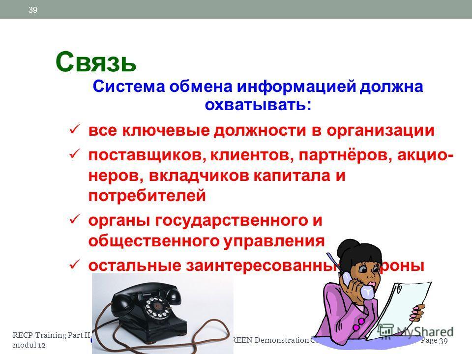 RECP Training Part II modul 12 Page 38EaP GREEN Demonstration Component 38 Организация должна установить процедуры: внутренней связи в организации получения необходимой информации от внешних заинтересованных сторон, их документального оформления и оф