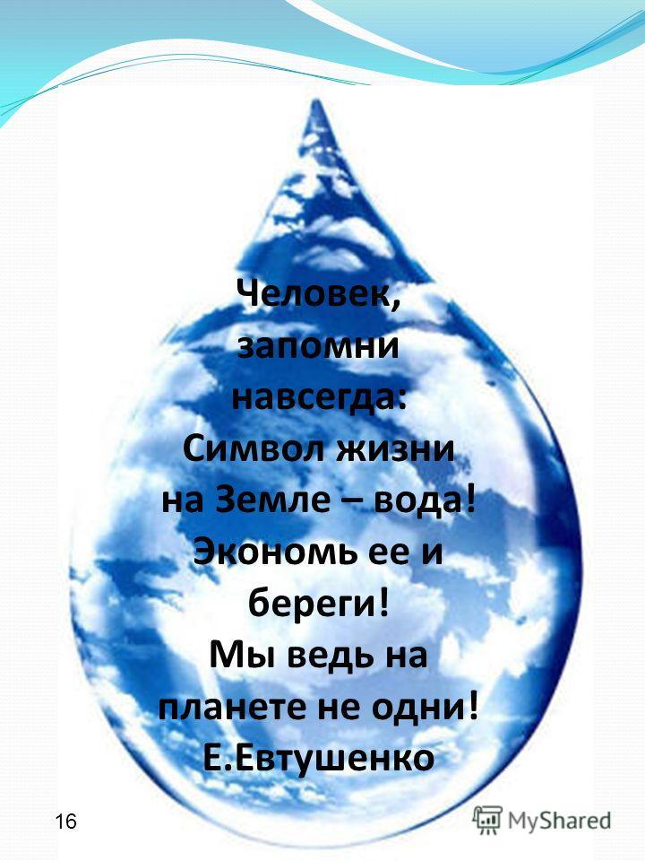 Человек, запомни навсегда: Символ жизни на Земле – вода! Экономь ее и береги! Мы ведь на планете не одни! Е.Евтушенко 16
