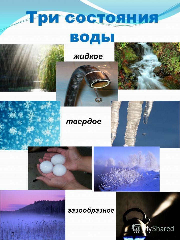 Три состояния воды жидкое твердое газообразное 2