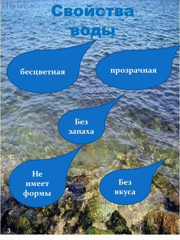 Свойства воды бесцветная прозрачная Без запаха Не имеет формы Без вкуса 3