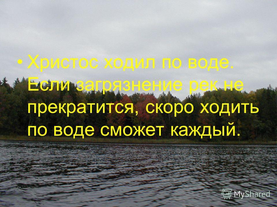 Христос ходил по воде. Если загрязнение рек не прекратится, скоро ходить по воде сможет каждый.