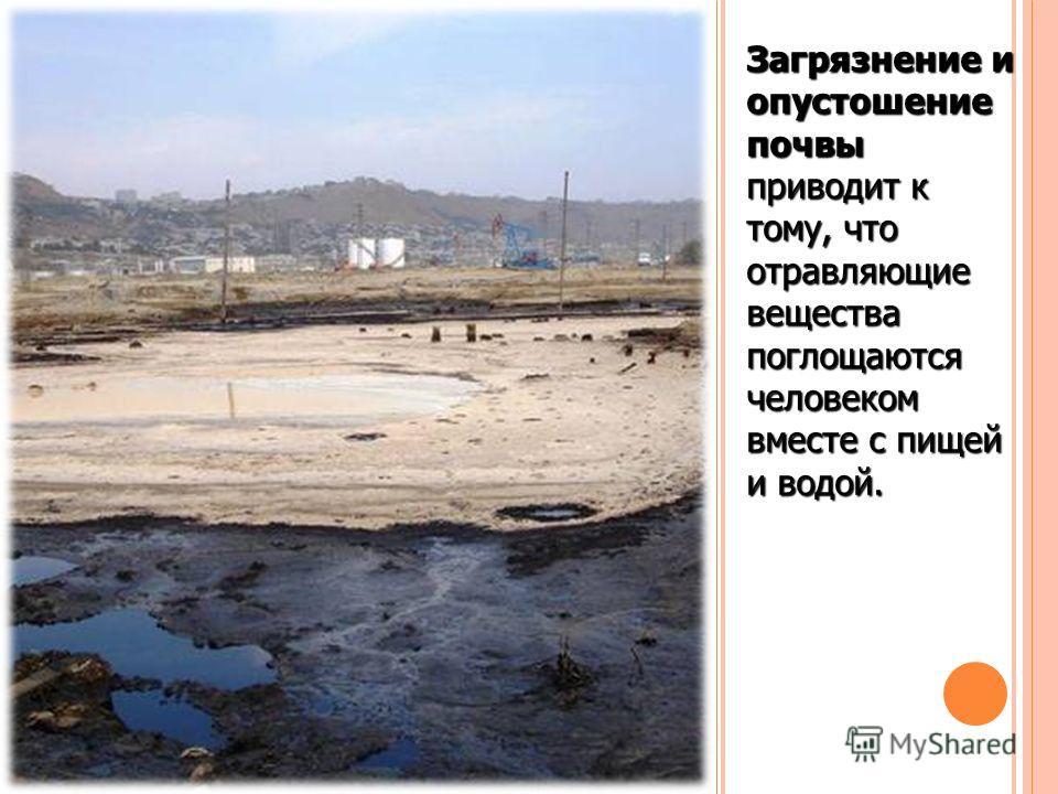 Загрязнение и опустошение почвы приводит к тому, что отравляющие вещества поглощаются человеком вместе с пищей и водой.