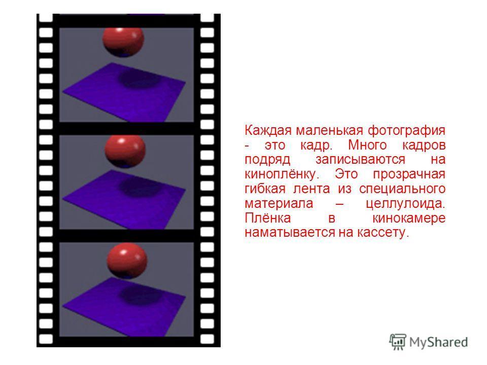 Это - кинокамера. Кинокамера много раз в секунду фотографирует всё, что находится перед ней. Человек, управляющий кинокамерой, называется оператором. Получается, что оператор снимает фильм кинокамерой на специальную плёнку.