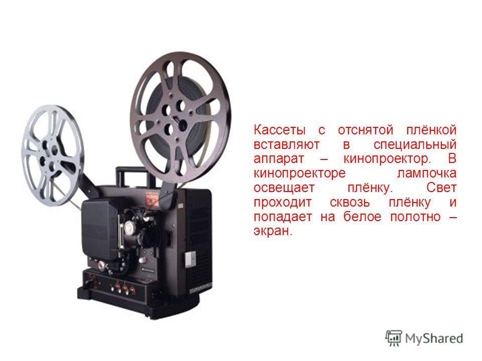 Каждая маленькая фотография - это кадр. Много кадров подряд записываются на киноплёнку. Это прозрачная гибкая лента из специального материала – целлулоида. Плёнка в кинокамере наматывается на кассету.