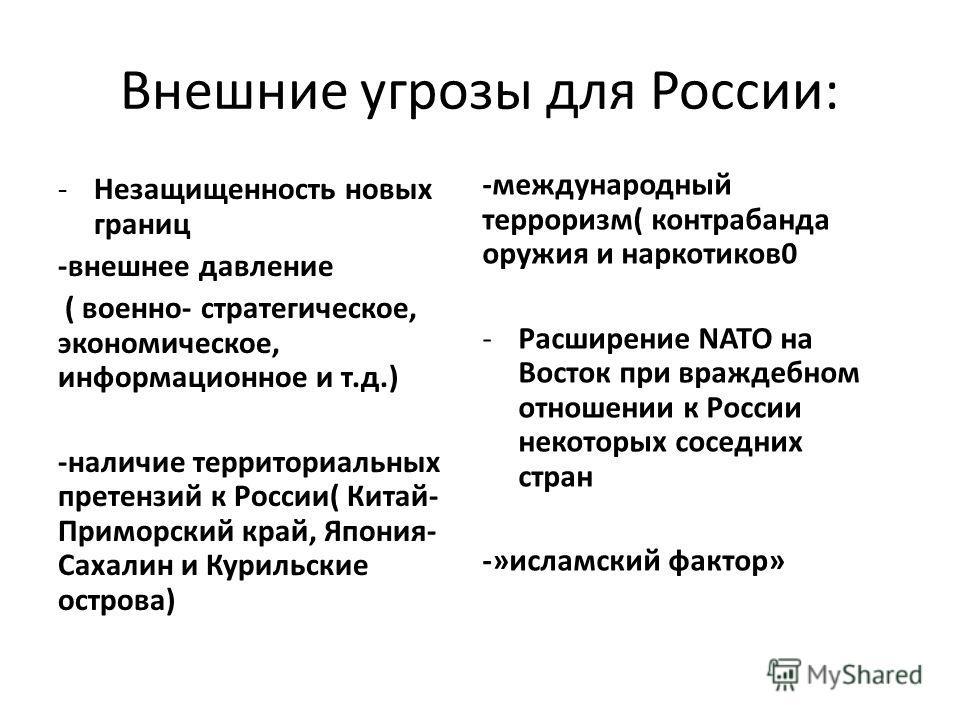 Внешние угрозы для России: -Незащищенность новых границ -внешнее давление ( военно- стратегическое, экономическое, информационное и т.д.) -наличие территориальных претензий к России( Китай- Приморский край, Япония- Сахалин и Курильские острова) -межд