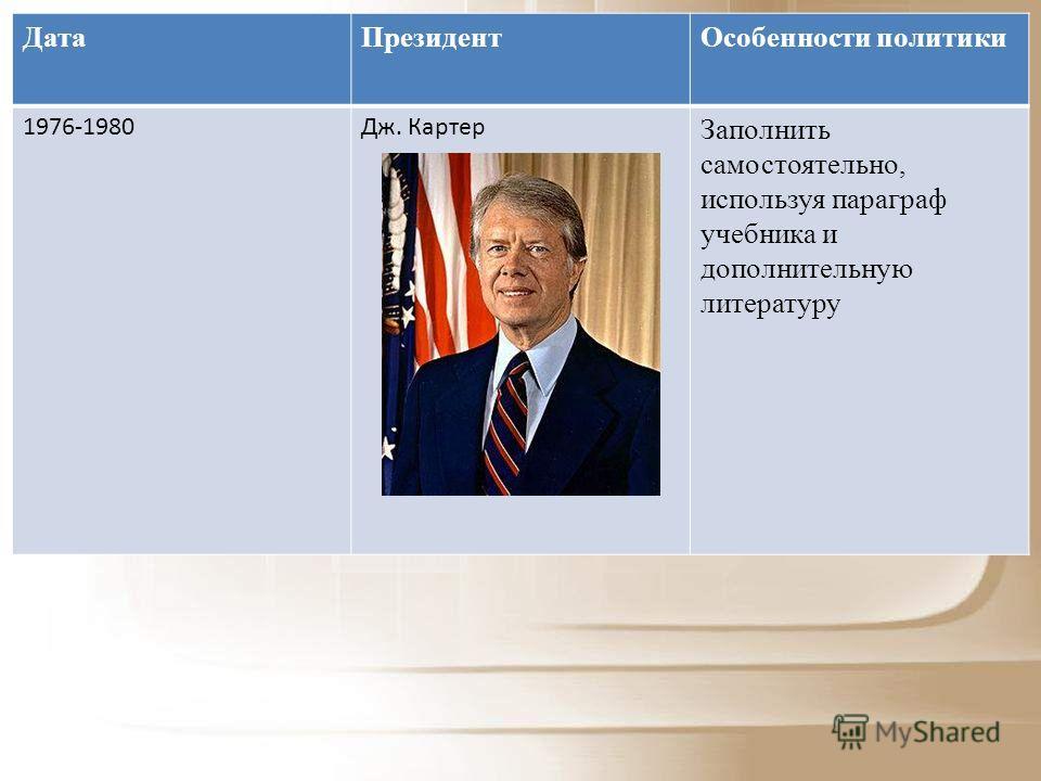 Дата ПрезидентОсобенности политики 1976-1980Дж. Картер Заполнить самостоятельно, используя параграф учебника и дополнительную литературу