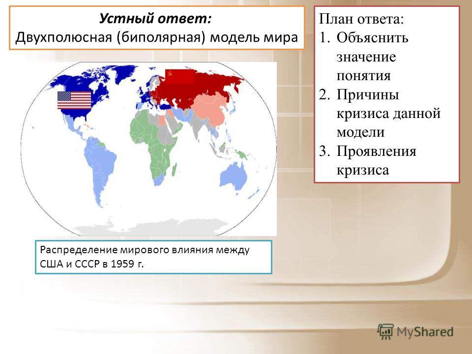 Устный ответ: Двухполюсная (биполярная) модель мира План ответа: 1. Объяснить значение понятия 2. Причины кризиса данной модели 3. Проявления кризиса Распределение мирового влияния между США и СССР в 1959 г.