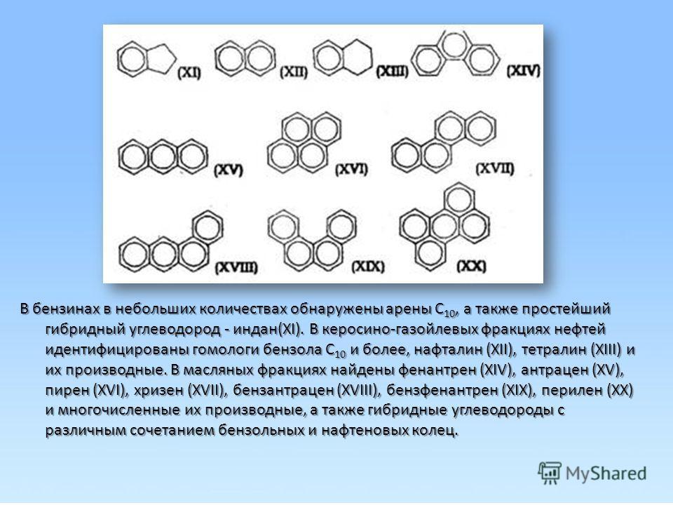 В бензинах в небольших количествах обнаружены арены С 10, а также простейший гибридный углеводород - индан(XI). В керосино-газойлевых фракциях нефтей идентифицированы гомологи бензола С 10 и более, нафталин (XII), тетралин (XIII) и их производные. В