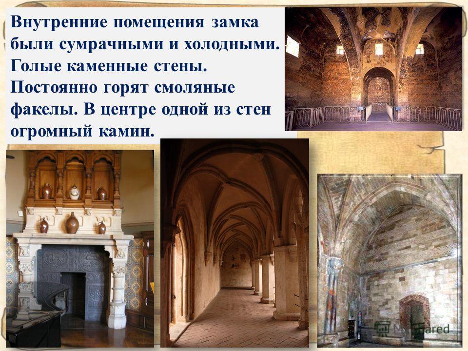 Внутренние помещения замка были сумрачными и холодными. Голые каменные стены. Постоянно горят смоляные факелы. В центре одной из стен огромный камин.