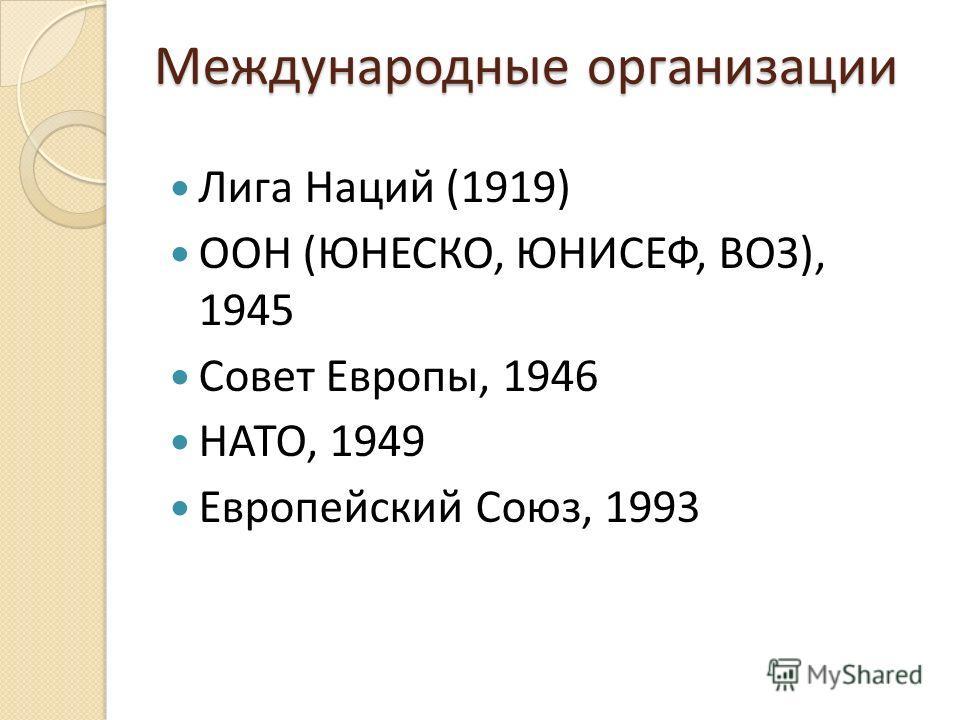 Международные организации Лига Наций (1919) ООН (ЮНЕСКО, ЮНИСЕФ, ВОЗ), 1945 Совет Европы, 1946 НАТО, 1949 Европейский Союз, 1993
