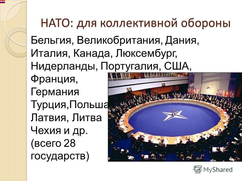 НАТО: для коллективной обороны Бельгия, Великобритания, Дания, Италия, Канада, Люксембург, Нидерланды, Португалия, США, Франция, Германия Турция,Польша, Латвия, Литва Чехия и др. (всего 28 государств)
