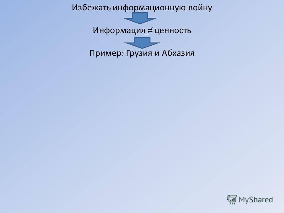 Избежать информационную войну Информация = ценность Пример: Грузия и Абхазия