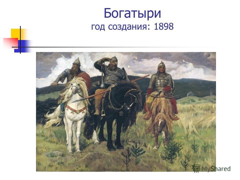 Богатыри год создания: 1898