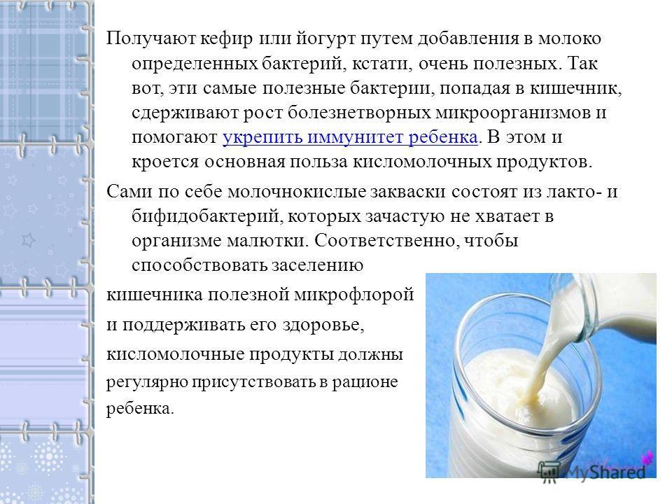 Получают кефир или йогурт путем добавления в молоко определенных бактерий, кстати, очень полезных. Так вот, эти самые полезные бактерии, попадая в кишечник, сдерживают рост болезнетворных микроорганизмов и помогают укрепить иммунитет ребенка. В этом