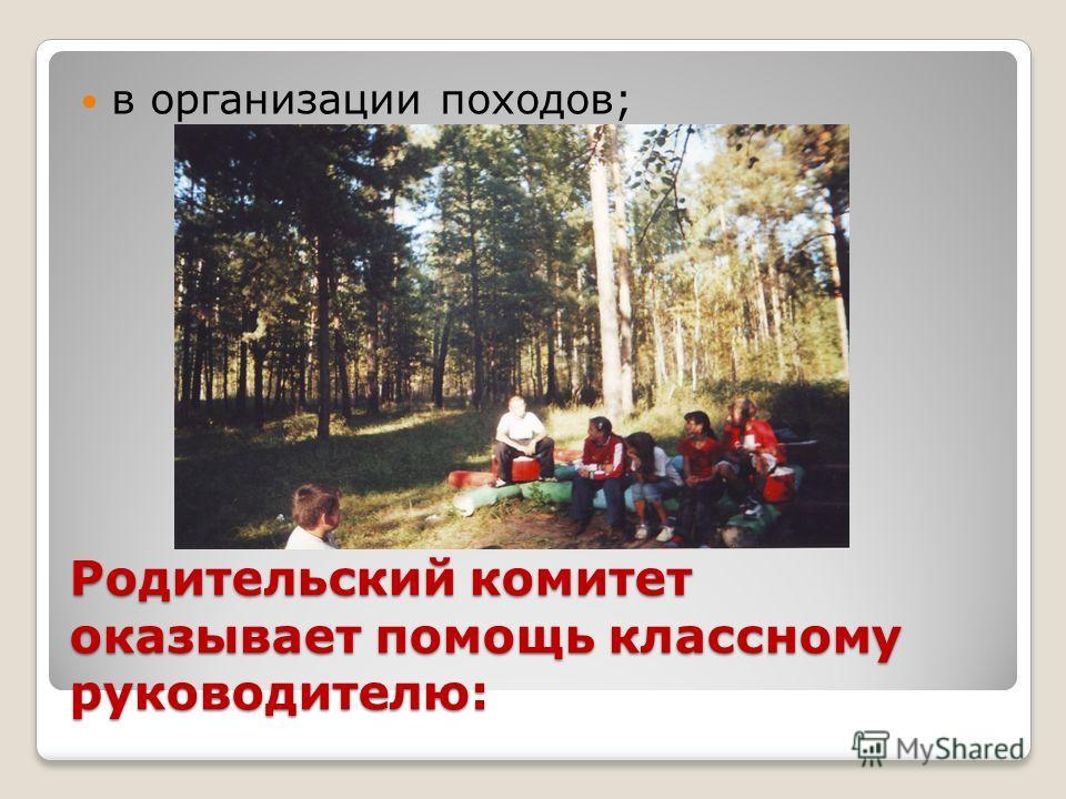 Родительский комитет оказывает помощь классному руководителю: в организации походов;