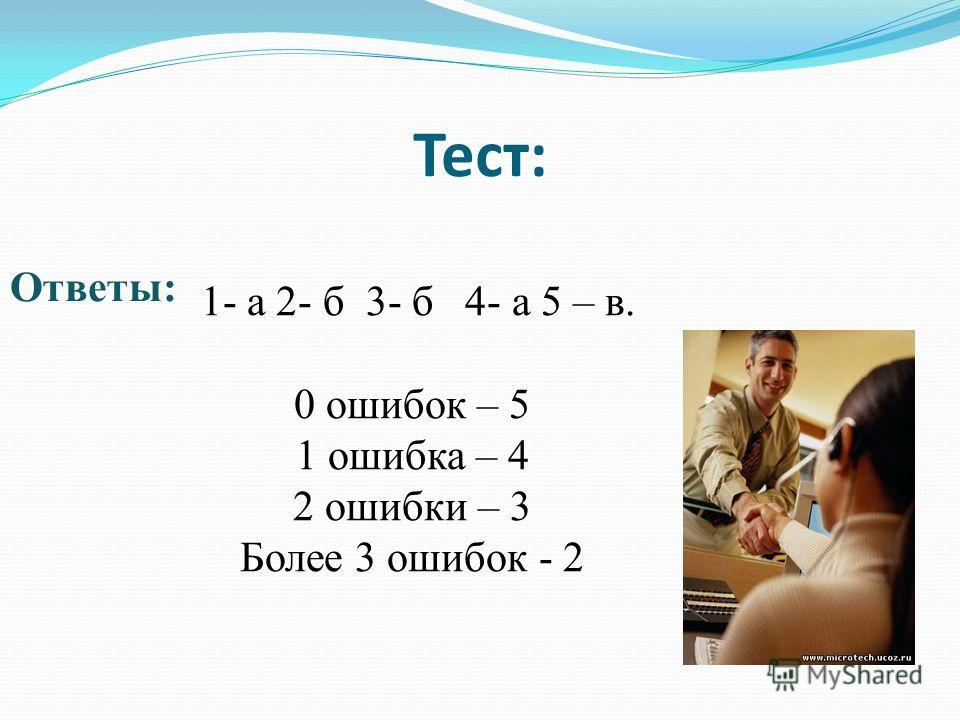 Тест: Ответы: 1- а 2- б 3- б 4- а 5 – в. 0 ошибок – 5 1 ошибка – 4 2 ошибки – 3 Более 3 ошибок - 2